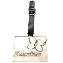 Metal Zinc Alloy bolsa de etiqueta con correa de cuero - Disponible para diseño personalizado