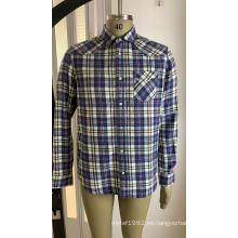 Camisa a cuadros de algodón con un bolsillo para hombre