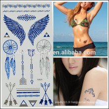 Vente en gros OEM Vente chaude Multiple design coloré tatouage métallique autocollant autocollant tatouage temporaire pour femme V4620
