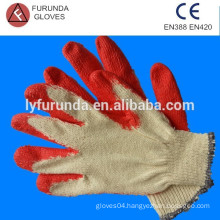 Red latex coated cotton gloves, cotton lined latex dipped palm working gloves