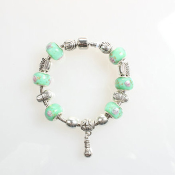 Pandora green Glass Beads Alloy women Bracelets Bangles