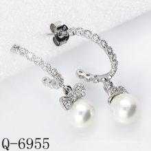 Derniers styles Boucles d'oreilles en perles cultivées en argent 925 (Q-6955)