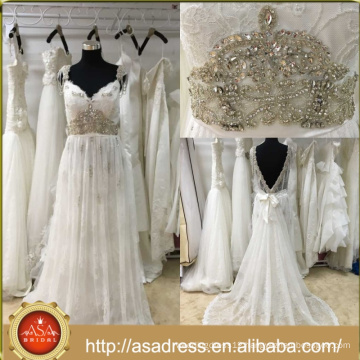 ASWY20 Real Sample brautkleid Beach Aline Crystals Bridal Dress vestidos de novia Bohemian wedding Gowns