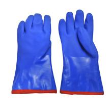 Luva revestida de PVC azul forro de algodão caxemira