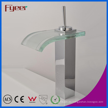 Fyeer High Body Crooked Square Glass Waterfall Spout Single Handle Grifo de lavabo de latón cromado Mezclador Tap Wasserhahn