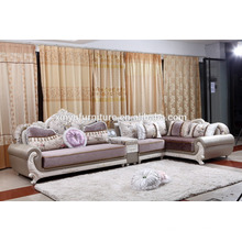 royal and classical living room wooden sofa set with lounge chaise KW9108
