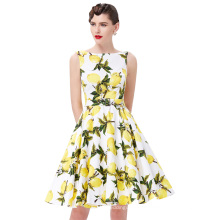 Belle Poque Stock Sleeveless Lemon Print Cotton Retro Vintage Audrey Hepburn style Dresses 50s Pinup BP000002-38