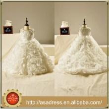 FL1007 especial de flores de organza de volantes mano de cuentas de los niños vestido de novia de longitud del piso Appliques vestido de bola vestido de niña de flores