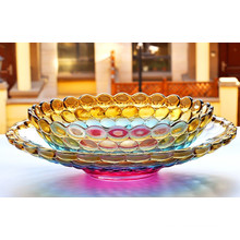 Fashion Colourful Crystal Glass Fruit Bowl