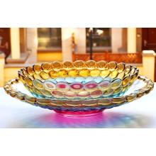 Bacia de fruta colorida do cristal de vidro da forma