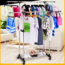 Laundry Dryer Rack Double Foldable Rolling Rack for Garment