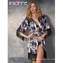 Miorre OEM Venta al por mayor de mujeres con franjas de detalle Elegante Kimono Japón Estilo Albornoz