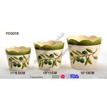Conjunto de 3 vasos de flores