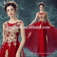 Vestido de festa elegante em forma de baile de finalistas em forma de chávena vermelho flor dourada bordada