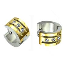 18K oro plateado pequeños pendientes de aro de Huggie con aretes de cristal Huggies Hoop HE-021
