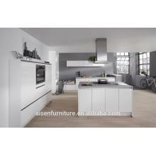 2016 de alta calidad manejar libre diseño blanco alto laca brillante China gabinete de cocina