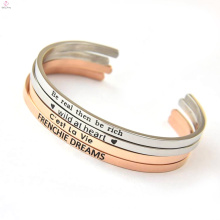 Neue Mode 2017 gestempelt Brief Manschette Edelstahl Armband
