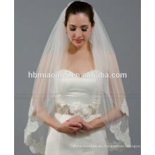 Nueva novia velo esencial novia boda accesorios velo de novia de encaje largo