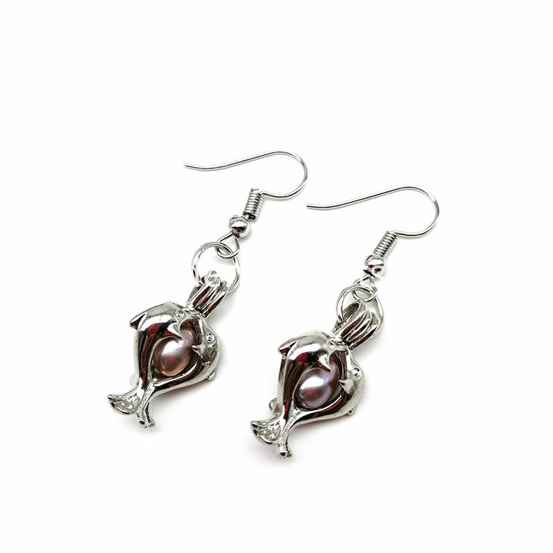 Double Dolphin Eardrop Earrings