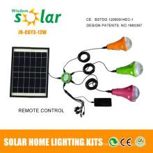 Sistema de iluminação solar de venda quente 12W, luzes solares para uso interno, kit de iluminação solar