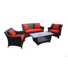 Популярные Red Rattan Lounge Установить 4PCS