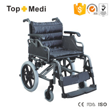 Cadeira de rodas de transporte manual de alumínio Topmedi com antiderrapante