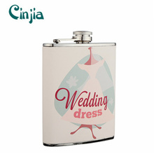 Elegant Stainless Steel Wedding Series Hip Flask for Gift (XF-830)