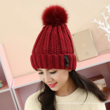 Womens Unisex Autumn Winter Warm Knitted Twisted Cable POM POM Caps Beanie Braided Hat (HW123)