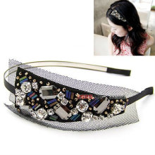 Black Lace Headband With Crystal Beaded Hairband Hair Accessories HB11