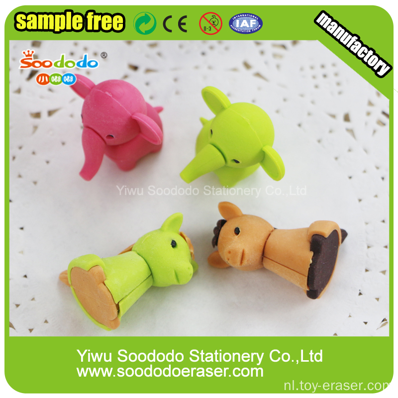 zoo series animal rubber nieuwigheid 3D erasers