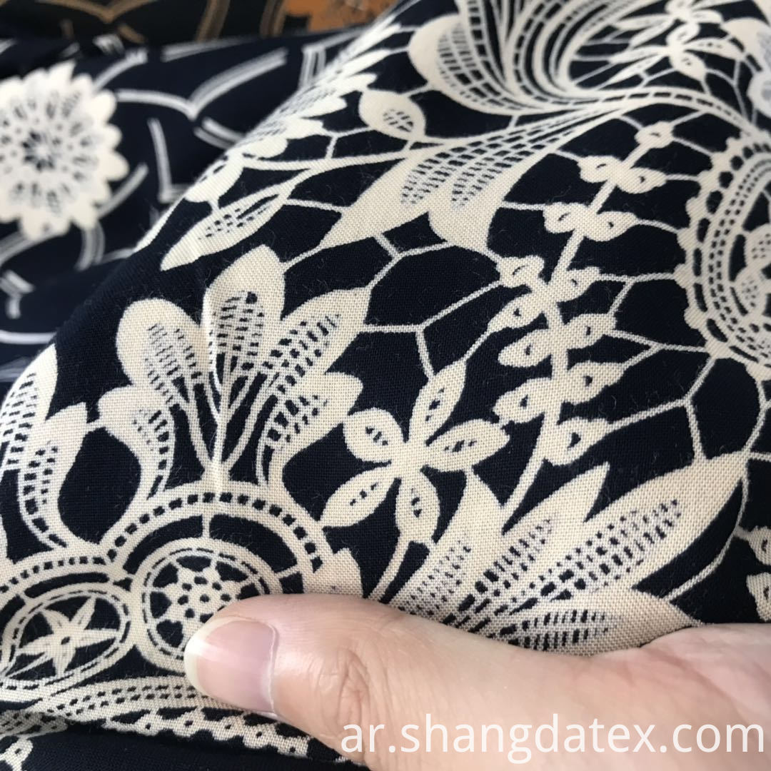 black ground rayon discharge print fabric