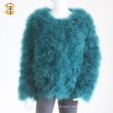 Venta al por mayor Elegancia verdadera Turquía pluma piel chaqueta chaquetas para las mujeres