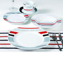 Colorful Strips 20PCS Porcelain Tableware Set For BS120920A