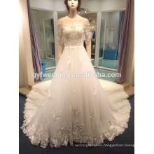 Long tail wedding dress word shoulder 2017 new bride married Korean Princess luxury flowers were thin LJ-10052