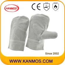 Manoplas de cuero de cuero de vaca Guantes de trabajo industriales de soldadura de trabajo (11128)