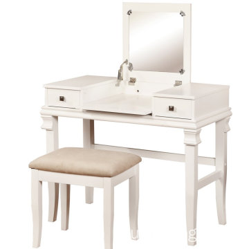 Vanity Set with Flip Top Mirror Cushioned Stool Makeup Dressing Table dresser 2 Drawers 3 Removable Organizer