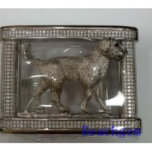 Horóscopo chino perro plata hebilla de correa para hombre