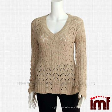 Ladies Metallic Cashmere Knitted Sweater