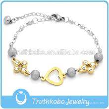 Nouveau bracelet de bijoux en acier inoxydable pour femme avec coeur et cristal