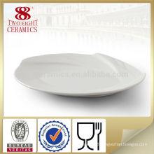 Flat white ceramic porcelain cake plate wavy oval dinner plates hot sale