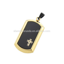 2016 new design gold plated pendant and black glass CNC pendant