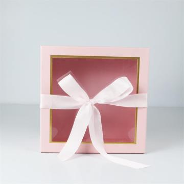 Pink wedding gift box with clear window