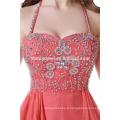 Mesdames nuptiale courte perlée rouge porter partie Halter dos nu robe de mariée