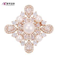 Xuping moda luxo banhado a ouro cristais de pérolas swarovski flor em forma de elemento de jóias broche -00010