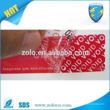 Encontre o melhor preço de adesivos anti-contrafacção falsos fabricantes de fita adesiva de segurança na China