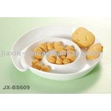 Plat à snacker en porcelaine blanche JX-BS609