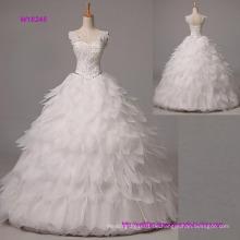 Ballkleid Brautkleid langen bodenlangen Trägern Organza mit Perlen