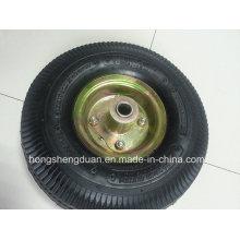 Roue pneumatique en caoutchouc de roue de brouette de fabricant professionnel 4.10 / 350-4