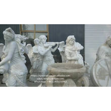 Garden decorative marble beautiful sexy naked girl statue with pot