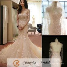 Elegante vestido de novia de Champagne Vestidos de novia de encaje Vestido de novia de sirena Velo de abrigo libre